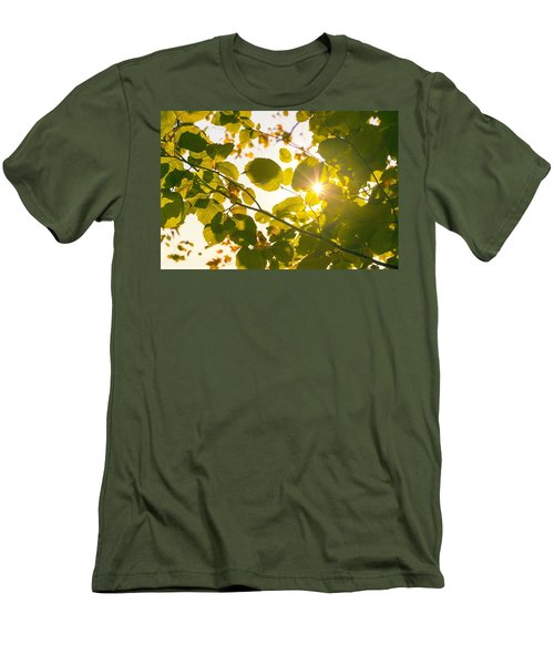 Men's T-Shirt (Slim Fit) featuring the photograph Sun Shining Through Leaves by Chevy Fleet