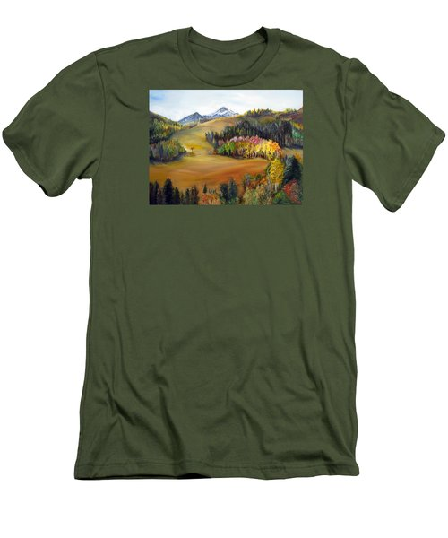 Men's T-Shirt (Slim Fit) featuring the painting Sundance And Mt. Timpanogos by LaVonne Hand