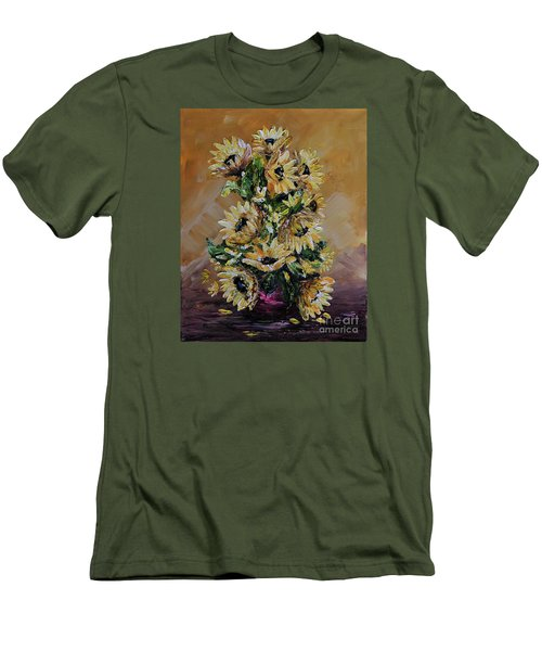 Men's T-Shirt (Slim Fit) featuring the painting Sunflowers For You by Teresa Wegrzyn