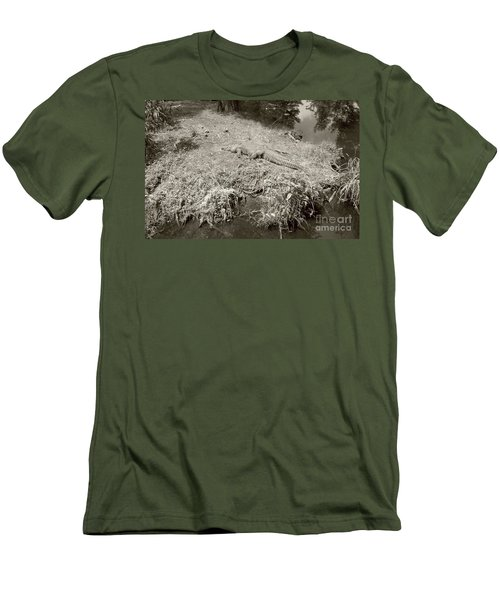 Men's T-Shirt (Slim Fit) featuring the photograph Sunny Gator Sepia  by Joseph Baril