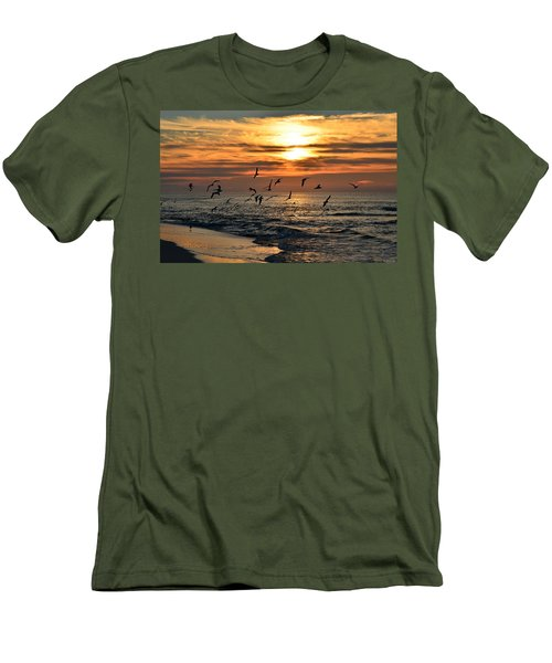 Sunrise Colors Over Navarre Beach With Flock Of Seagulls Men's T-Shirt (Slim Fit) by Jeff at JSJ Photography