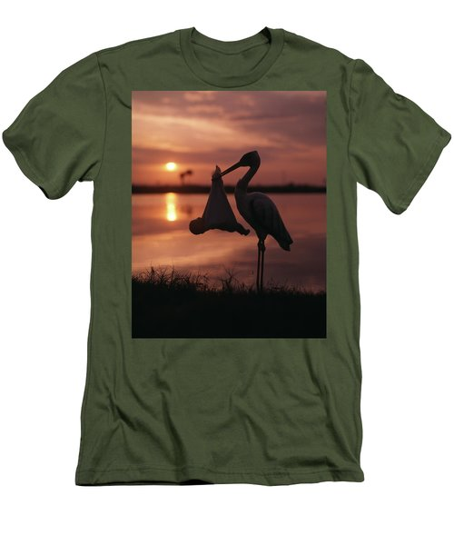 Sunrise Silhouette Of Stork Carrying Men's T-Shirt (Athletic Fit)