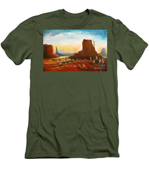 Sunrise Stampede Men's T-Shirt (Slim Fit) by Marilyn Smith