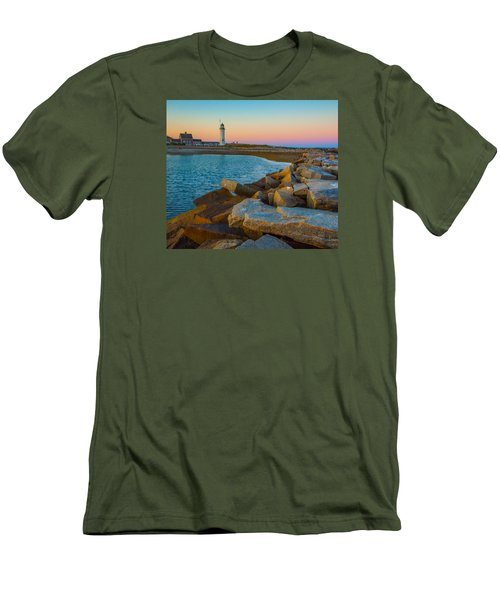 Sunset At Old Scituate Lighthouse Men's T-Shirt (Slim Fit) by Brian MacLean