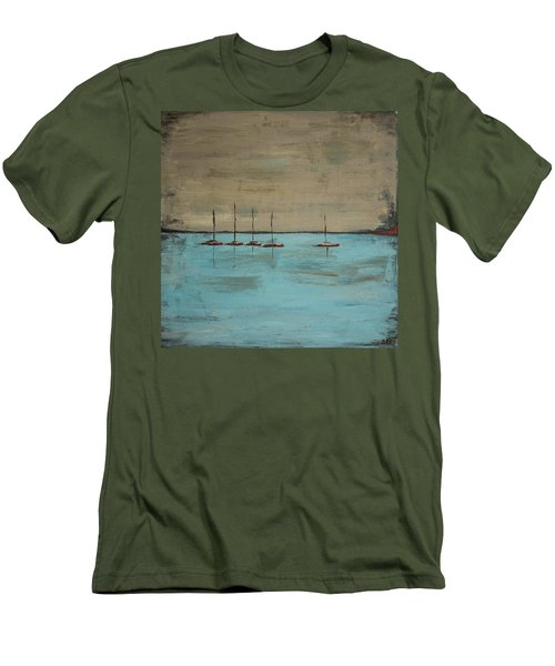 Men's T-Shirt (Athletic Fit) featuring the painting Sunset Boats by Ben Gertsberg