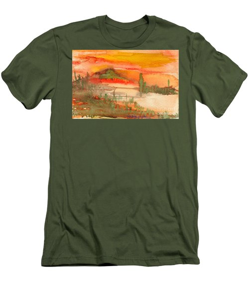 Men's T-Shirt (Slim Fit) featuring the painting Sunset In Saguaro Desert  by Mukta Gupta