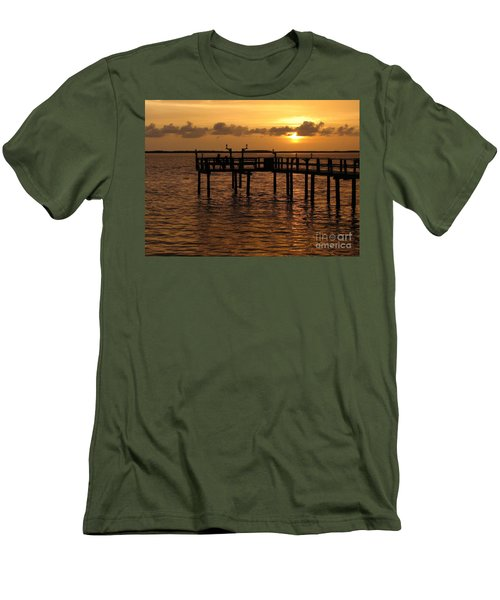 Men's T-Shirt (Slim Fit) featuring the photograph Sunset On The Dock by Peggy Hughes