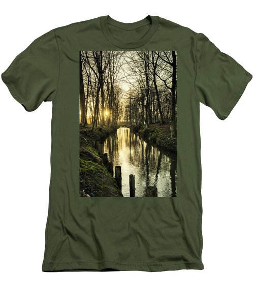 Sunset Over Stream Men's T-Shirt (Athletic Fit)