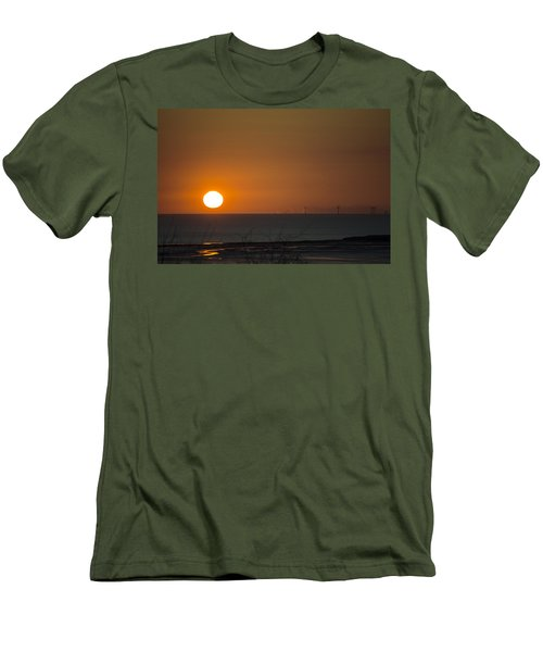 Sunset Over The Windfarm Men's T-Shirt (Slim Fit) by Spikey Mouse Photography