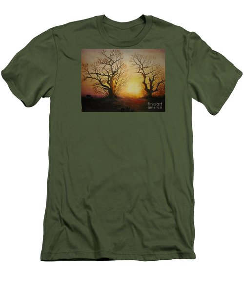Men's T-Shirt (Slim Fit) featuring the painting Sunset by Sorin Apostolescu