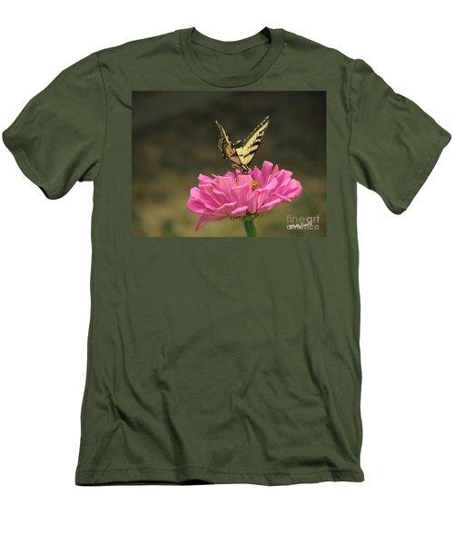 Swallowtail On A Zinnia Men's T-Shirt (Slim Fit) by Debby Pueschel