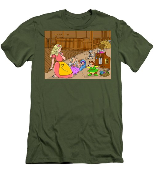 Men's T-Shirt (Slim Fit) featuring the painting Tammy And Her Playmates by Reynold Jay