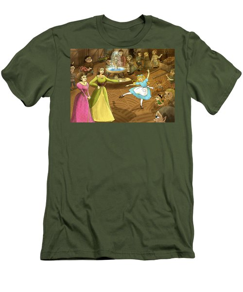 Men's T-Shirt (Slim Fit) featuring the painting Tammy In The Town Square by Reynold Jay