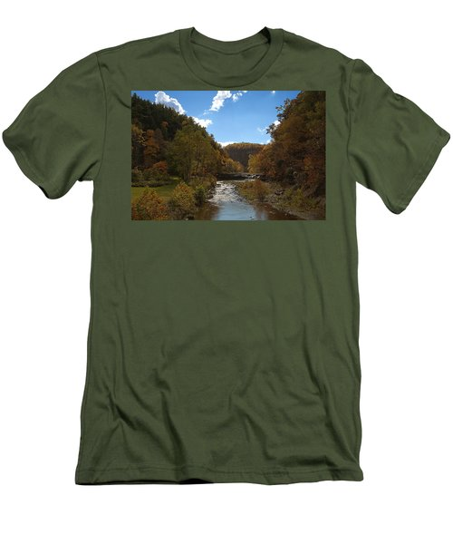 Men's T-Shirt (Slim Fit) featuring the photograph Taughannock Lower Falls Ithaca New York by Paul Ge