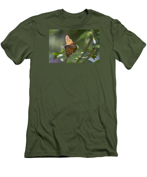 Tawny Emperor On Hibiscus Men's T-Shirt (Slim Fit) by Shelly Gunderson