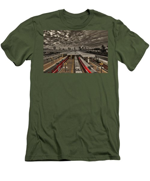 Men's T-Shirt (Athletic Fit) featuring the photograph Tel Aviv Central Railway Station by Ron Shoshani
