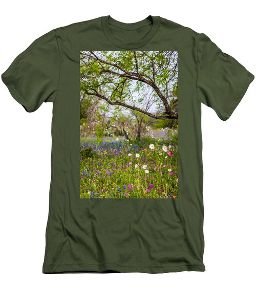 Texas Roadside Wildflowers 732 Men's T-Shirt (Athletic Fit)