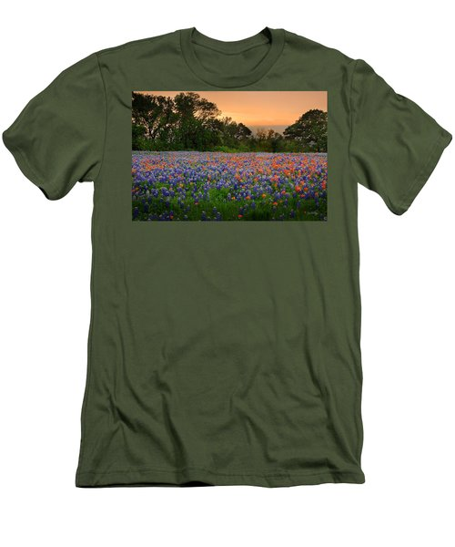 Texas Sunset - Bluebonnet Landscape Wildflowers Men's T-Shirt (Athletic Fit)