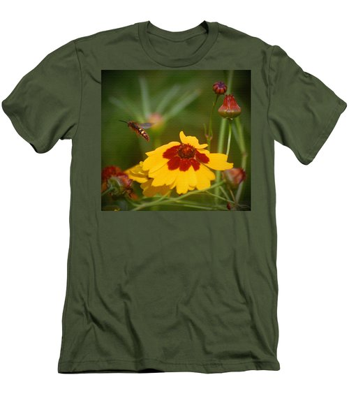 Men's T-Shirt (Slim Fit) featuring the photograph Textured Bee by Leticia Latocki