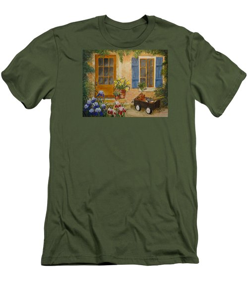Men's T-Shirt (Slim Fit) featuring the painting The Back Door by Marilyn Zalatan