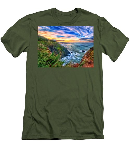 Men's T-Shirt (Slim Fit) featuring the painting The Beauty Of Big Sur by Michael Pickett