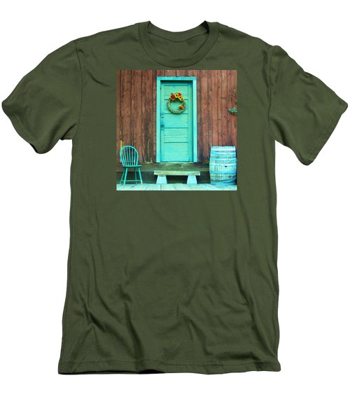 Men's T-Shirt (Slim Fit) featuring the photograph The Blue Door by Marilyn Diaz