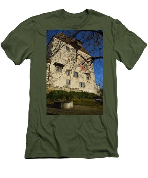 Men's T-Shirt (Slim Fit) featuring the photograph The Castle Greets A Sunny Day by Felicia Tica