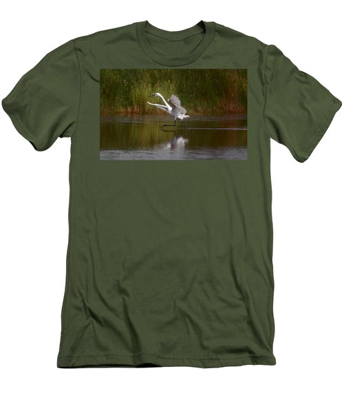Men's T-Shirt (Slim Fit) featuring the photograph The Great Egret by Leticia Latocki