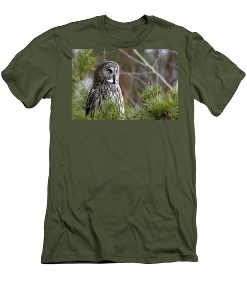 The Great Grey Owl Men's T-Shirt (Slim Fit) by Torbjorn Swenelius