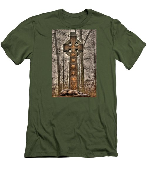 The Irish Brigade At Gettysburg  63rd-69th-88th New York Infantry St. Patricks Day 2012 Close-a Men's T-Shirt (Slim Fit) by Michael Mazaika