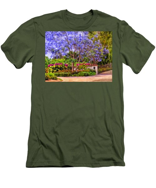 Men's T-Shirt (Slim Fit) featuring the painting The Jacaranda by Michael Pickett