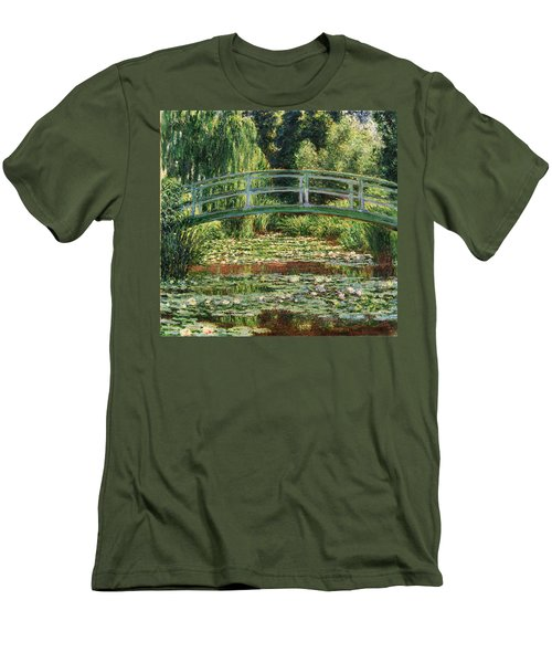 The Japanese Footbridge And The Water Lily Pool Giverny Men's T-Shirt (Slim Fit) by Claude Monet