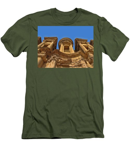 Men's T-Shirt (Slim Fit) featuring the photograph The Monastery In Petra by David Gleeson