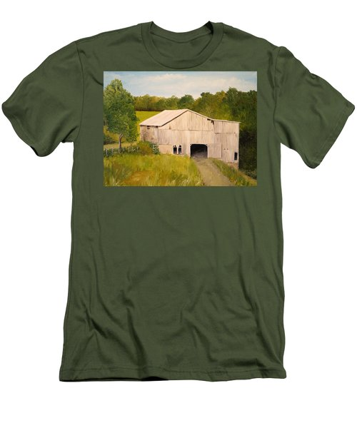 Men's T-Shirt (Slim Fit) featuring the painting The Old Barn by Alan Lakin