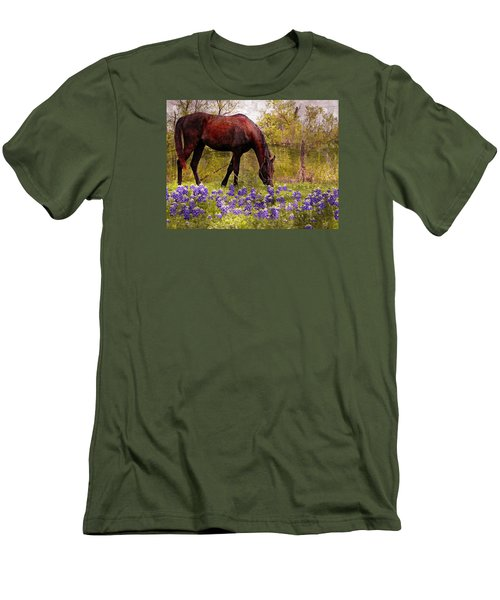 Men's T-Shirt (Slim Fit) featuring the photograph The Pasture by Kathy Churchman