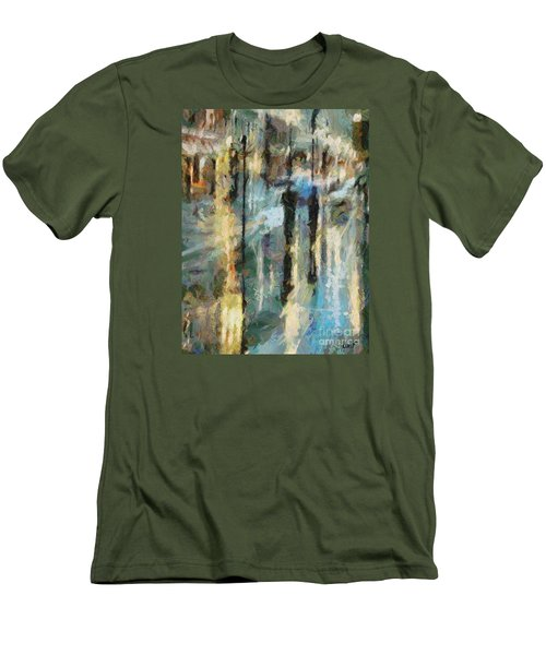 Men's T-Shirt (Slim Fit) featuring the painting The Rain In Paris by Dragica  Micki Fortuna