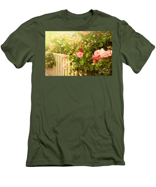 The Scent Of Roses And A White Fence Men's T-Shirt (Athletic Fit)