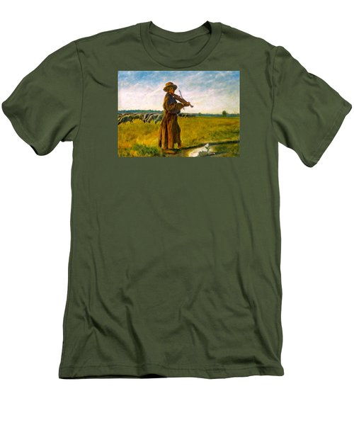 Men's T-Shirt (Slim Fit) featuring the painting The Shepherd by Henryk Gorecki