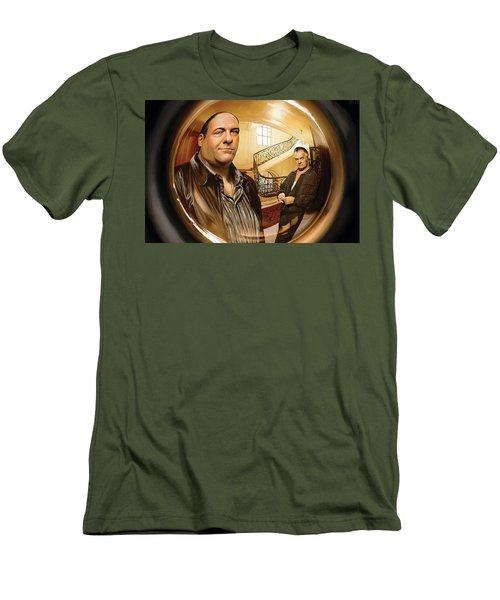 Men's T-Shirt (Slim Fit) featuring the painting The Sopranos  Artwork 1 by Sheraz A