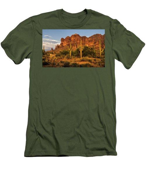 The Superstitions At Sunset  Men's T-Shirt (Slim Fit) by Saija  Lehtonen