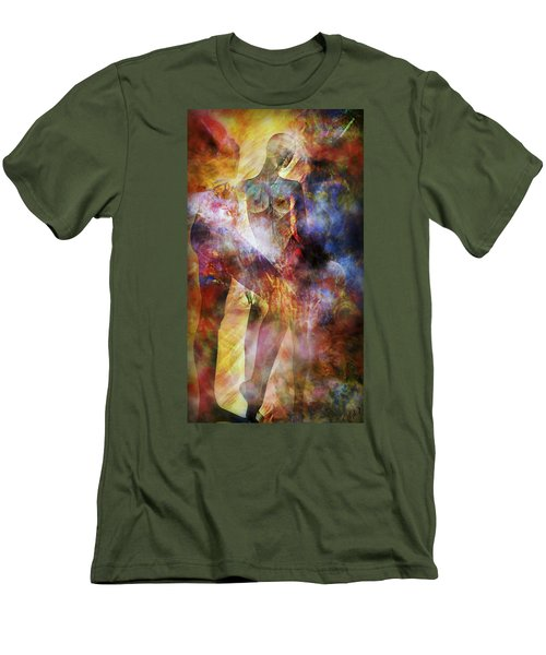 Men's T-Shirt (Slim Fit) featuring the mixed media The Touch by Ally  White