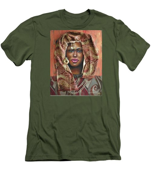 Men's T-Shirt (Slim Fit) featuring the painting The Whole Story Behind Her Hazel Eyes by Alga Washington