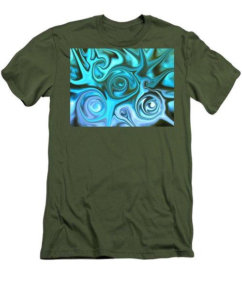 Turquoise Swirls Men's T-Shirt (Slim Fit) by Susan Carella