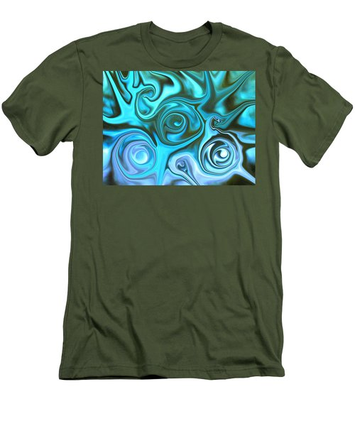 Turquoise  - Satin Swirls Men's T-Shirt (Athletic Fit)