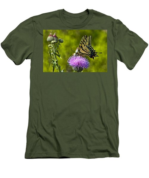 Men's T-Shirt (Slim Fit) featuring the photograph Thistle Do Just Fine by Gary Holmes