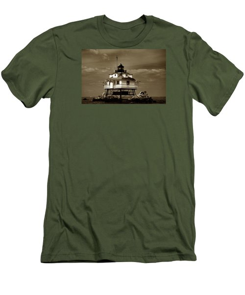 Thomas Point Shoal Lighthouse Sepia Men's T-Shirt (Slim Fit) by Skip Willits