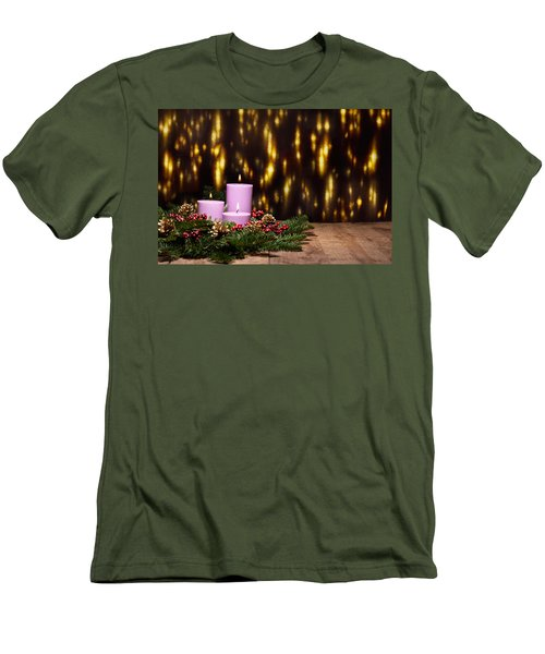 Three Candles In An Advent Flower Arrangement Men's T-Shirt (Athletic Fit)