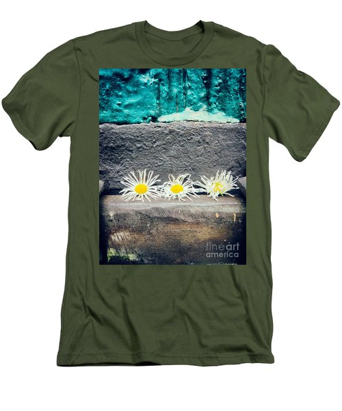 Men's T-Shirt (Slim Fit) featuring the photograph Three Daisies Stuck In A Door by Silvia Ganora