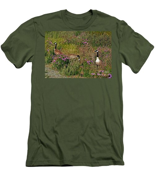 Men's T-Shirt (Slim Fit) featuring the photograph Three Quiet Canada Geese by Susan Wiedmann