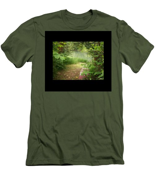 Men's T-Shirt (Slim Fit) featuring the photograph Through The Forest At Water's Edge by Absinthe Art By Michelle LeAnn Scott